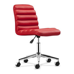 Zuo Modern - Zuo Admire Office Chair in Red - Office Chair in Red belongs to Admire Collection by Zuo Modern The Admire office chair has a sleek and comfy shape wrapped in a soft padded leatherette with an adjustable life and rolling base. Office Chair (1)