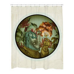 """Sharp Shirter - Caliope Shower Curtain - """"This curtain is printed in USA!. Hooks sold separately. Disclaimer: If you order multiple items, they may ship from separate locations."""""""