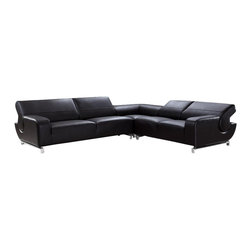 VIG Furniture - Motif Black Top Grain Italian Leather Sectional Sofa With Adjustable Headrests - The Motif sectional sofa is a great addition for any modern themed living room decor. This sectional sofa comes upholstered in a beautiful black top grain leather in the front where your body touches. Skillfully chosen match material is used on the back and sides where contact is minimal. High density foam is placed within the cushions for added comfort. The sectional features adjustable headrests that add a extra touch of relaxation.