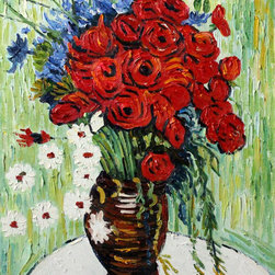 overstockArt.com - Van Gogh - Vase with Daisies and Poppies - Vase with Daisies and Poppies is a remarkable oil painting with exceptional use of color, detail and brush strokes. The original was created in 1887, today this oil painting has been reproduced by hand detail by detail, brush stroke by brush stroke to near perfection. It has a delightful still life subject that is sure to bring many admirers. Vincent Van Gogh's restless spirit and depressive mental state fired his artistic work with great joy and, sadly, equally great despair. Known as a prolific Post-Impressionist, he produced many paintings that were heavily biographical. This work of art has the same emotions and beauty as the original by Van Gogh. Why not grace your home with this reproduced masterpiece? It is sure to bring many admirers!