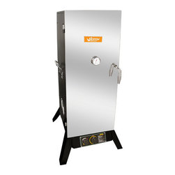 "Weston - 36"" Outdoor Propane Smoker - 36"" Outdoor Vertical Propane Smoker (45.5"" assembled) with black powder-coat sides and stainless steel door"
