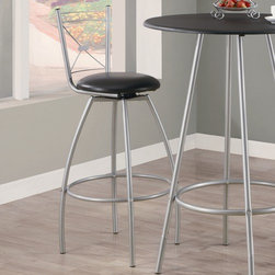 """Monarch Specialties Inc. - 29"""" X Back Swivel Barstool (Set of 2) - These swivel barstools will be the perfect addition to any dining space. They feature sleek tube legs and an """"X"""" motif back in a silver metal, as well as leatherette cushion seats and a well positioned footrest for added comfort. Features: -Silver finish. -Metal construction. -""""X"""" Motif chair back. -Leatherette cushion padded swivel seat. -Sleek tube legs. -Well positioned footrest. -Assembly required. -Seat height: 29"""". -Dimensions: 43"""" Height x 22"""" Width x 22"""" Depth."""