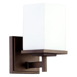 Quorum Lighting - Quorum Lighting Delta Modern / Contemporary Wall Sconce X-68-1-4845 - Taking a cue from traditional pieces, this Quorum Lighting wall sconce features bold, masculine lines and angles. From the Delta Collection, this contemporary wall sconce features a single light housed in an elongated satin opal glass shade. The rectangular shade mimics the angular frame, which has been finished in a contrasting Oiled Bronze.