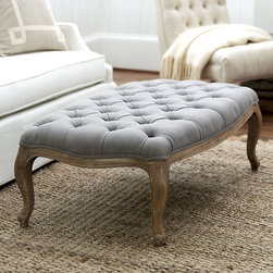 Ballard Designs - Clervaux Tufted Ottoman - Great at the foot of a bed. Doubles as a cocktail table. Self-piped edge. Our Clervaux Tufted Ottoman is a beautiful solution for big conversation groups or spaces where serving and seating need to do double duty. Solid oak frame is expertly crafted with carved cabriole legs and upholstered in gray or pebble linen with deep, self-covered button tufts. Clervaux Tufted Ottoman features: . . .