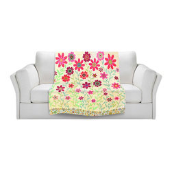 DiaNoche Designs - Fleece Throw Blanket by Sascalia - Pink Retro Flowers - Original Artwork printed to an ultra soft fleece Blanket for a unique look and feel of your living room couch or bedroom space.  DiaNoche Designs uses images from artists all over the world to create Illuminated art, Canvas Art, Sheets, Pillows, Duvets, Blankets and many other items that you can print to.  Every purchase supports an artist!