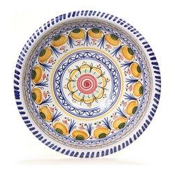 "Spanish Flower 11"" Majolica Ceramic Bowl - Spanish Flower 11"" Majolica Ceramic Bowl"