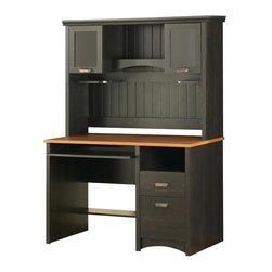 South Shore - Wood Desk & Hutch Set in Black Finish - Manufactured from eco-friendly, EPP-compliant laminated particle boardcarrying the Forest Stewardship Council (FSC) certification. Includes desk and hutch. Black finish. Assembly Required. Desk: 47.5 in. W x 23.5 in. D x 30.5 in. H. Hutch: 49 in. W x 13 in. D x 36 in. H. Overall: 49 in. W x 23.5 in. D x 66.5 in. H