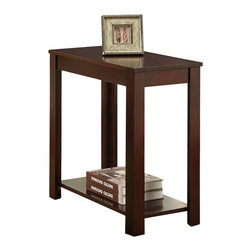 Adarn Inc - Cherry Wood Rectangular Shaped Chair Side Table with a Lower Panel Shelf - Add a touch of elegance with this simple rectangular shaped cherry wood finished side table to a living room or den. It also includes a lower platform to store magazines or motifs.