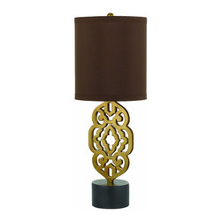 """AF Lighting - AF Lighting Candice Grill Satin Brass Metal Table Lamp w/ Silk Shade - AF Lighting 8104-TL Candice Olson """"Grill"""" Table Lamp with Chocolate Poly Silk Shade and Laser Cut Metal on a Resin Base, Finished in Black and Satin Brass"""