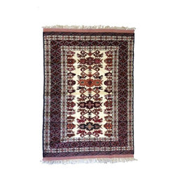 "Pre-owned Afghanistan Tribal Rug - 3' 10"" x 5' 8"" - This beautiful cream and reddish brown rug is the perfect size for an entry. It would also look great layered on top of a natural fiber rug. 3'10"" x 5'8"""