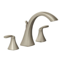 Moen - Moen T693BN Voss Series Roman Tub Faucet (Brushed Nickel) - This roman tub faucet features a crisp, sleek style that is sure to accent any bath decor. This faucet features 2 lever-style handles for precise volume and temperature control, and a design that was built on the Moen MPact common valve system, allowing you to update your trim in the future without having to replace the plumbing. This faucet requires a roman tub valve (4796, 4797, 4798, 4792, or 4793), which is sold separately. This model comes in a beautiful, Brushed Nickel finish, and is ADA compliant.