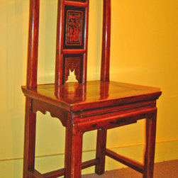 Antique Carved Straight Back Chinese Chair - Carved Straight Back Chinese Chair