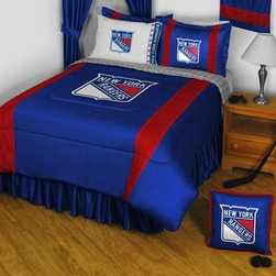 Sports Coverage - New York Rangers NHL Sidelines Bedding - Complete Set - Queen w/ 2 Sham - Save big and show your NHL team spirit with Sidelines New York Rangers Bedding Set, including the Comforter, Sheet set, Pillow sham and Bed skirt! This Comforter is made from 100% Polyester Jersey Mesh - just like what the players wear. The fill is 100% Polyester batting for warmth and comfort. Authentic team colors and logo screen printed in the center. Microfiber Sheet Set have an ultra-fine peach weave that is softer and more comfortable than cotton! This Micro Fiber Sheet Set includes one flat sheet, one fitted sheet and a pillow case. Its brushed silk-like embrace provides good insulation and warmth, yet is breathable. It is wrinkle-resistant, stain-resistant, washes beautifully, and dries quickly. The pillowcase only has a white-on-white print and the officially licensed team name and logo printed in team colors. Made from 92 gsm microfiber for extra stability and soothing texture. 2 flanged edge that decorates all four sides of each Pillow sham. Made of 100% polyester jersey mesh, just like the players wear. Sheet Sets are plain white in color with no team logo. Bedskirt available in team color with no team logo printed on them.  Includes:  -  Comforter - Twin 66 x 86, Full/Queen 86 x 86,    -  Flat Sheet - Twin 66 x 96, Full 81 x 96, Queen 90 x 102.,    - Fitted Sheet - Twin 39 x 75, Full 54 x 75, Queen 60 X 80,    -  Pillow case Standard - 21 x 30,    - Pillow Sham - 25 x 31,    -  Bedskirt - Twin 76 x 39, Full 76 x 54, Queen 80 x 60 ,