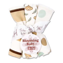 "Trend Lab - Bouquet 5 Pack Wash - Morgan The Monkey - Trend Lab's Morgan the Monkey Wash Cloth Set makes bath time fun. Set features five wash cloths each with fun, modern printed cotton on the front and soft terry on the back. Wash cloth patterns include: two with a cute monkey and banana scatter print in cream, wheat, brown sugar and meadow green with chocolate accents, one stripe print in cream, wheat, brown sugar, meadow green and chocolate and two with oversized dot prints in cream, wheat, brown sugar and meadow green. Each wash cloth measures 8"" x 8""."