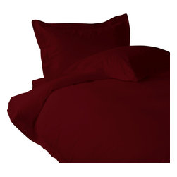 "800 TC Sheet Set 15"" Deep Pocket with Duvet Set Solid Burgundy, Full XL - You are buying 1 Flat Sheet (81 x 96 inches), 1 Fitted Sheet (54 x 80 inches), 1 Duvet Cover (88 x 88 Inches) and 4 Standard Size Pillowcases (20 x 30 inches) only."