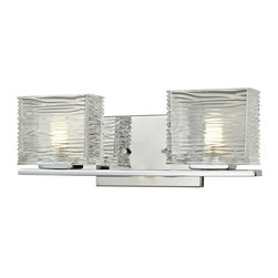 Z-Lite - Z-Lite 3025-2V Jaol 2 Light ADA Compliant Bathroom Vanity Light - Rectangular glass shades with horizontal textured lines soften the bright light of the Jaol vanity family. The flat arm design exudes a contemporary design finished in finely brushed nickel, rich bronze and highly polished chrome.Specifications: