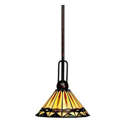 Kichler - Kichler 65271 Yakima Single-Bulb Indoor Pendant with Cone-Shaped Glass Shade - Featuring Tiffany-style pendants, this 1 light mini pendant from the Yakima collection uses clean lines and strong angles to relay a tribal inspiration. Art Glass with rich hues and varied textures pairs well with the Tannery Bronze�� finish to evoke an organic connection to natural landscapes. This fixture creates a warm atmosphere and bathes a room in muted, earthy light.Product Features: