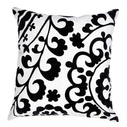 """Jaipur Rugs - Jaipur Rugs Contemporary Suzani Pattern Natural Black Cotton Pillow // 18""""X18"""" - A fun, funky collection of pillows in 100% cotton, taking inspiration from suzani patterns which have been rescaled and updated.Colors mix black and white with vibrant brights of pink ,lime and lemon and use a combination of flock print, applique and embroidery embellishment techniques"""