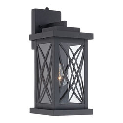 "Lamps Plus - Woodland Park Black 15"" High Outdoor Wall Light - This black finish outdoor wall light is inspired by Mission style designs, but has a stylish look ideal for today's homes. This black finish outdoor wall light offers an Mission inspired look that is both stylish and eye-catching. The design is crafted from steel, and comes with framed clear glass panels. With a dusk-to-dawn photocell, this light offers security by turning on automatically when the sun sets and off when the sun rises."