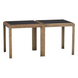 Set of 2 Pascal Bunching Tables - These brass and black accent tables are the perfect mix of casual and chic. They work great together as a coffee table.