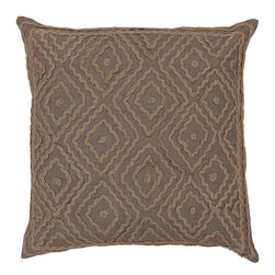 "Surya LD026-2020P 100% Linen w/ Cotton Detail 20"" x 20"" Decorative Pillow - Raised pattern makes this textured pillow stand out. This pillow has a polyester fill and a zipper closure. Made in India with one hundred percent Linen and cotton detail, this pillow is durable and priced right. Filler: Poly Fiber. Shape: Square"