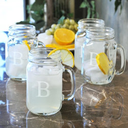Grandin Road - Set of Four Personalized Old Fashioned Drinking Jars - Classic glass drinking jars with handles. Crafted from clear, handblown glass. Due to its handmade nature, glass may exhibit small bubbles. Dishwasher safe. Engraving with a single, uppercase block initial included; style of engraving as shown. Serve up your favorite beverage with sweet memories or share a set as a personalized gift: classic engraving adds a drop of sophistication to the countryside charm of our Old Fashioned Drinking Jars. Each is crafted from handblown glass, with a classic beveled top and clear glass handle. Engrave each glass with a single monogram; personalization is included.. . . . . 16-1/2 oz. capacity, each. Made in the USA. Personalized items are not returnable.