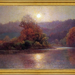 """John Ottis Adams-18""""x24"""" Framed Canvas - 18"""" x 24"""" John Ottis Adams The Closing of an Autumn Day framed premium canvas print reproduced to meet museum quality standards. Our museum quality canvas prints are produced using high-precision print technology for a more accurate reproduction printed on high quality canvas with fade-resistant, archival inks. Our progressive business model allows us to offer works of art to you at the best wholesale pricing, significantly less than art gallery prices, affordable to all. This artwork is hand stretched onto wooden stretcher bars, then mounted into our 3"""" wide gold finish frame with black panel by one of our expert framers. Our framed canvas print comes with hardware, ready to hang on your wall.  We present a comprehensive collection of exceptional canvas art reproductions by John Ottis Adams."""