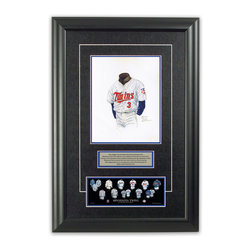 "Heritage Sports Art - Original art of the MLB 1991 Minnesota Twins uniform - This beautifully framed piece features an original piece of watercolor artwork glass-framed in an attractive two inch wide black resin frame with a double mat. The outer dimensions of the framed piece are approximately 17"" wide x 24.5"" high, although the exact size will vary according to the size of the original piece of art. At the core of the framed piece is the actual piece of original artwork as painted by the artist on textured 100% rag, water-marked watercolor paper. In many cases the original artwork has handwritten notes in pencil from the artist. Simply put, this is beautiful, one-of-a-kind artwork. The outer mat is a rich textured black acid-free mat with a decorative inset white v-groove, while the inner mat is a complimentary colored acid-free mat reflecting one of the team's primary colors. The image of this framed piece shows the mat color that we use (Medium Blue). Beneath the artwork is a silver plate with black text describing the original artwork. The text for this piece will read: This original, one-of-a-kind watercolor painting of the 1991 Minnesota Twins uniform is the original artwork that was used in the creation of this Minnesota Twins uniform evolution print and tens of thousands of other Minnesota Twins products that have been sold across North America. This original piece of art was painted by artist Nola McConnan for Maple Leaf Productions Ltd.  1991 was a World Series winning season for the Minnesota Twins. Beneath the silver plate is a 3"" x 9"" reproduction of a well known, best-selling print that celebrates the history of the team. The print beautifully illustrates the chronological evolution of the team's uniform and shows you how the original art was used in the creation of this print. If you look closely, you will see that the print features the actual artwork being offered for sale. The piece is framed with an extremely high quality framing glass. We have used this glass style for many years with excellent results. We package every piece very carefully in a double layer of bubble wrap and a rigid double-wall cardboard package to avoid breakage at any point during the shipping process, but if damage does occur, we will gladly repair, replace or refund. Please note that all of our products come with a 90 day 100% satisfaction guarantee. Each framed piece also comes with a two page letter signed by Scott Sillcox describing the history behind the art. If there was an extra-special story about your piece of art, that story will be included in the letter. When you receive your framed piece, you should find the letter lightly attached to the front of the framed piece. If you have any questions, at any time, about the actual artwork or about any of the artist's handwritten notes on the artwork, I would love to tell you about them. After placing your order, please click the ""Contact Seller"" button to message me and I will tell you everything I can about your original piece of art. The artists and I spent well over ten years of our lives creating these pieces of original artwork, and in many cases there are stories I can tell you about your actual piece of artwork that might add an extra element of interest in your one-of-a-kind purchase."