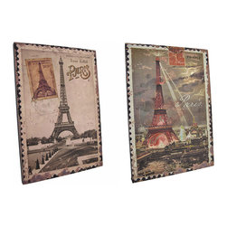 Zeckos - Pair of Vintage Eiffel Tower Postage Stamp Canvases - This pair of printed canvases features an enlarged image of vintage postage stamps from Paris, France with the Eiffel tower. Each one measures 15 inches tall, 10 3/8 inches wide, 5/8 of an inch wide and mounts to the wall with a single nail by the picture hanger on the back of the wooden frame. This is a great addition to French themed decor, looks wonderful in restaurants and shops, and makes a great gift for the worldly traveler.