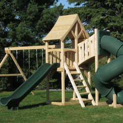 Havendale Deluxe - White cedar swing set with diamond tower and tube slide.