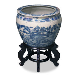 China Furniture and Arts - 12in Blue Canton Porcelain Fishbowl Planter - Completely hand made by ceramist in China, and hand painted with traditional blue and white motif which was brought by the British to China in the early 18th century. Noble families of ancient China once used large bowls such as ours to protect their pond gold fish from the freezing cold of winter, now used today as a cachepot, it gives a plant a highly decorative place to put down roots. Stand sold separately.