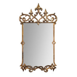 Uttermost - Mirandela 37' High Antiqued Gold Wall Mirror - Hand forged metal frame finished in a heavily antiqued gold with a light gray glaze.