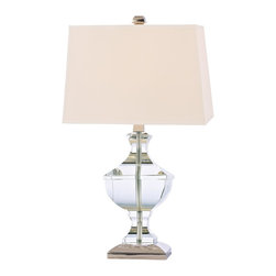 Hudson Valley - Hudson Valley L744-PN 1 Light Small Table Lamp WitClyde Hill Collection - Clyde Hill marries the architectural strength of a neoclassical baluster with the feminine elegance of sparkling crystal and an hourglass outline.  The lamp's curvy silhouette is balanced by the boxy shade.  Polished Nickel highlights the collection's bri
