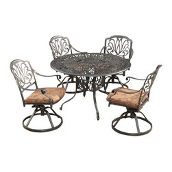 Home Styles - Home Styles Floral Blossom 5 Piece Dining Set in Charcoal-42 Inch Table - Home Styles - Dining Sets - 5558305 - By combining outdoor elements such as ceremonial and abstract floral designs, the Floral Blossom Dining Set by Home Style is brought to life. Set includes: One (1) Table and Four (4) swivel chairs with cushion.