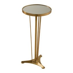 Global Views - French Moderne Side Table - Antique Brass/Mirror - Inspired by a French classic, this nickel plated or antique brass table has a mirrored top and smaller scale make it perfect to pop in any environment.