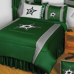 Sports Coverage - Dallas Stars Bedding - NHL Sidelines Comforter and Sheet Set Combo - Twin - This is a great NHL Dallas Stars Bedding Comforter and Sheet set combination! Buy this Microfiber Sheet set with the Comforter and save off our already discounted prices. Show your team spirit with this great looking officially licensed Comforter which comes in new design with sidelines. This comforter is made from 100% Polyester Jersey Mesh - just like what the players wear. The fill is 100% Polyester batting for warmth and comfort. Authentic team colors and logo screen printed in the center.   Microfiber Sheet Hem sheet sets have an ultrafine peach weave that is softer and more comfortable than cotton.  Its brushed silk-like embrace provides good insulation and warmth, yet is breathable.  The 100% polyester microfiber is wrinkle-resistant, washes beautifully, and dries quickly with never any shrinkage. The pillowcase has a white on white print beneath the officially licensed team name and logo printed in vibrant team colors, complimenting the NEW printed hems. The Teams are scoring high points with team-color logos printed on both sides of the entire width of the extra deep 4 1/2 hem of the flat sheet.  Includes:  -  Flat Sheet - Twin 66 x 96, Full 81 x 96, Queen 90 x 102.,    - Fitted Sheet - Twin 39 x 75, Full 54 x 75, Queen 60 X 80,    -  Pillow case Standard - 21 x 30,    - Comforter - Twin 66 x 86, Full/Queen 86 x 86,