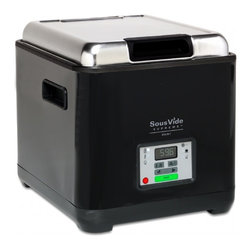 SousVide Supreme Demi Water Oven - Black - The compact SousVide Supreme Demi offers the same unparalleled cooking convenience of the original SousVide Supreme water oven but in a smaller appliance. With hands-off cooking that is gentle and forgiving, the Demi makes it easy to have meals ready in minutes at the end of the day. Everyone - from the accomplished cook to the rank novice - can turn out gourmet quality meals with minimal preparation time. It's as easy as heating water! Just season your dish, vacuum-seal in food-grade pouches, simmer in the Demi water bath, sear or sauce your dish if desired, and serve. FREE SHIPPING within the mainland US.