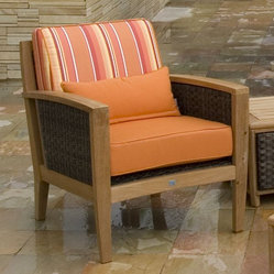 Teak Deep Seating Outdoor Wicker Lounge Chair