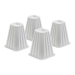 Honey Can Do - Ivory Bed Risers - Set Of 4 - Set of 4. Adds 7.5 inches height to beds. Fits up to 2.75 in. post. 300 lb. capacity for each riser