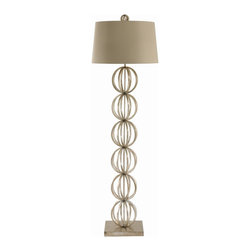 """Arteriors - Millenium Floor Lamp - A transitional floor lamp featuring six stacked caged iron spheres in a champagne silver finish.  Topped with a hardback light gray shade with pearl cotton lining and a matching open globe finial.  3-way switch.  Lamp base: 10"""" round  Lamp body: 7 1/2"""" w x 7 1/2"""" d x 44 1/4"""" h  Socket Wattage: 100  Switch Location: At Socket  Switch Type: 3-Way Rotary  Cord Color: Clear/Silver  Microfiber shade: 18"""" w x 18"""" d x 11"""" h"""