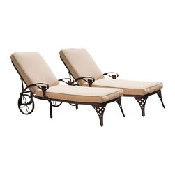 Home Styles - Home Styles Biscayne Outdoor Chaise Lounge Chair in Bronze with Cushion (Set of - Home Styles - Patio Lounges - 55558312 - Create an intimate conversation area with Home Styles' Biscayne Chaise Lounge Chair with Cushion. Constructed of cast aluminum in a UV resistant powder-coated bronze finish sealed with a clear coat for protection; the Lounge Chair features a weather resistant taupe chaise polyester cushion two wheels for easy portability and nylon glides on legs for stability. Elegant design and sturdy construction this piece can be adjusted to four back positions.
