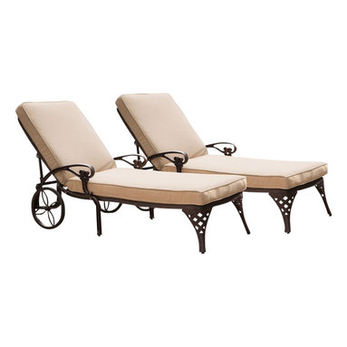 Home Styles - Home Styles Biscayne Outdoor Chaise Lounge Chair in Bronze with Cushion (Set of - Home Styles - Patio Lounges - 55558312 - Create an intimate conversation area with Home Styles' Biscayne Chaise Lounge Chair with Cushion. Constructed of cast aluminum in a UV resistant, powder-coated bronze finish sealed with a clear coat for protection; the Lounge Chair features a weather resistant taupe chaise polyester cushion, two wheels for easy portability and nylon glides on legs for stability. Elegant design and sturdy construction, this piece can be adjusted to four back positions.