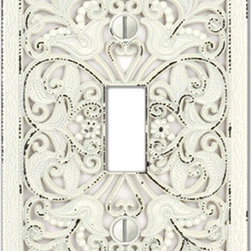 Arabesque White Wallplates - This ornate lace design will provide extravagant impact to your decor. Its distressed white finish will complement most decorating color schemes. Made of zinc and die cast to ensure the greatest detail possible. Decorating with wallplates is an economical way to make great impact in your home. Manufactured by Creative Accents.