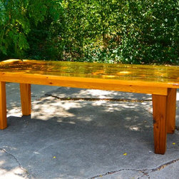 """8 1/2' Cedar outdoor dining table - Western red cedar outdoor dining table.  8 1/2' long, 34"""" wide, 29 1/2"""" high.  Tapered legs, breadboard ends.  Epifanes marine varnish on top.  Suitable for all weather conditions."""