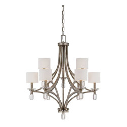Savoy House - Filament 9-Light Chandelier - Raymond Waites filament has a luxurious glamour and fresh appeal ! Stacked k9 crystals add shine and sparkle that is reflected by a rich silver dust finish. This elegant group is today's lighting classic.