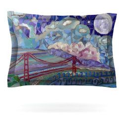 "Kess InHouse - Theresa Giolzetti ""San Fran"" Blue Teal Pillow Sham (Woven, 40"" x 20"") - Pairing your already chic duvet cover with playful pillow shams is the perfect way to tie your bedroom together. There are endless possibilities to feed your artistic palette with these imaginative pillow shams. It will looks so elegant you won't want ruin the masterpiece you have created when you go to bed. Not only are these pillow shams nice to look at they are also made from a high quality cotton blend. They are so soft that they will elevate your sleep up to level that is beyond Cloud 9. We always print our goods with the highest quality printing process in order to maintain the integrity of the art that you are adeptly displaying. This means that you won't have to worry about your art fading or your sham loosing it's freshness."