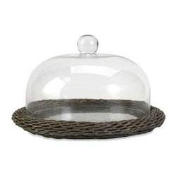 Olivia Glass Cloche with Willow Base - The Olivia glass cloche adds interest to any area! Willow is finished in a warm grey stain, making this neutral piece easily customizable with filler for a personalized look!