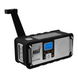 La Crosse Technology - La Crosse Technology 810-106 NOAA Hand Crank Weather Radio Multicolor - 810-106 - Shop for Weather Radio from Hayneedle.com! Receives all 7 NOAA weather band channels Warning system that automatically activates when severe weather or other emergencies threaten your local area Blue backlight changes to red during weather alerts Standard AM / FM radio reception IC Chip: USA-made high quality digital audio radio Cranking time of 1-minute equals 30-minutes of use Solar panel will power the radio all day in full sunlight Integrated high-intensity LED flashlight Replaceable Lithium-ion rechargeable battery included 600 mAh rechargeable battery has twice the capacity of the competitor s 300 mAh battery 3.5mm earphone jack Telescoping antenna LED charge indicator light Stainless steel metal bars Mini USB port Receive up-to-the-minute weather updates. This portable AM/FM severe weather radio receives seven different NOAA weather band channels. It also functions as a standard AM/FM radio for recreational use. The integrated LED flashlight is helpful during power failures or outdoor activities. The radio is always ready when you need it offering multiple charging options: (1) hand crank (2) solar panel or (3) a standard mini USB cable (not included). Mini USB Port Options: Charge the radio with a computer using a standard mini USB cable (sold separately) Charge a cell phone with an adapter/cable for an iphone micro and mini (sold separately)