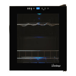 Vinotemp - Vinotemp 15-bottle Touchscreen Wine Cooler - Maintain your small wine collection in this 15-bottle Touch Screen Wine Cooler. The VT-15 TS features a handsome design with black body and a tinted glass door with a magnetic seal and a recessed handle.