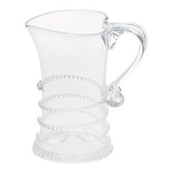 """Juliska - Juliska Amalia Creamer Clear - Juliska Amalia Creamer Clear. This sparkling vessel is accented with a simple swirl to lend a chic touch to the breakfast table or teatime. Dimensions: 4"""" H Capacity: 6 oz"""